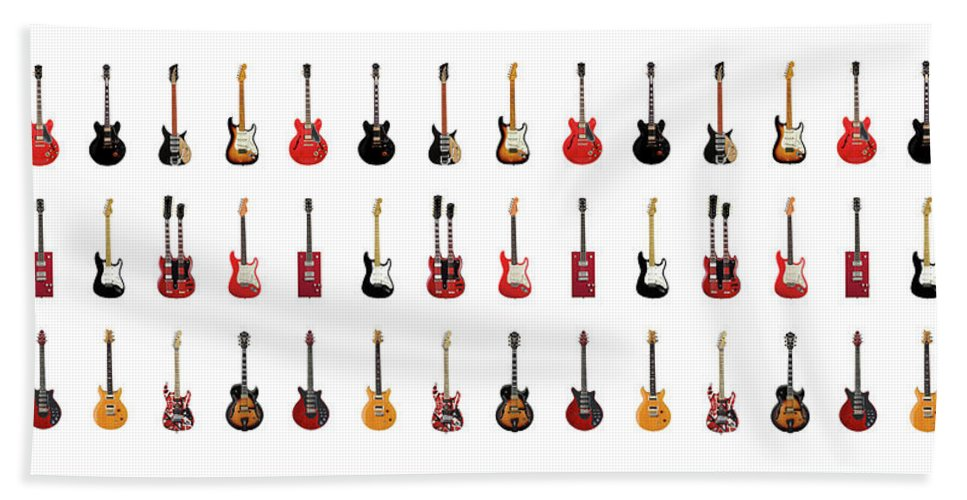 Fender Stratocaster Beach Towel featuring the photograph Guitar Icons No1 by Mark Rogan