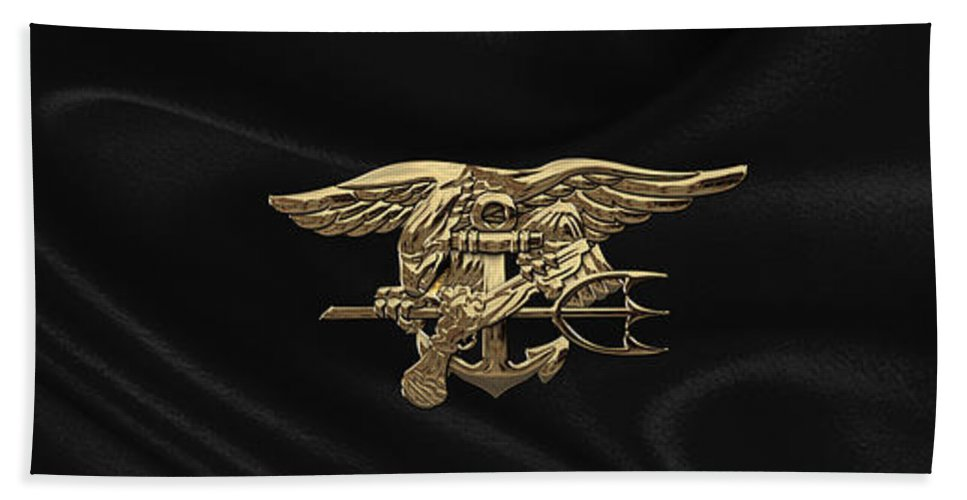'military Insignia & Heraldry - Nswc' Collection By Serge Averbukh Beach Towel featuring the digital art U.s. Navy Seals Trident Over Black Flag by Serge Averbukh
