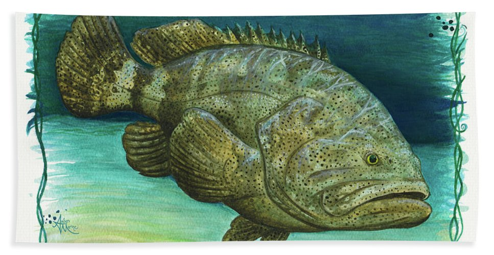 Goliath Grouper Beach Towel featuring the painting Goliath Grouper by Amber Marine