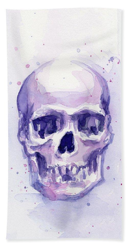 Purple Beach Towel featuring the painting Purple Skull by Olga Shvartsur