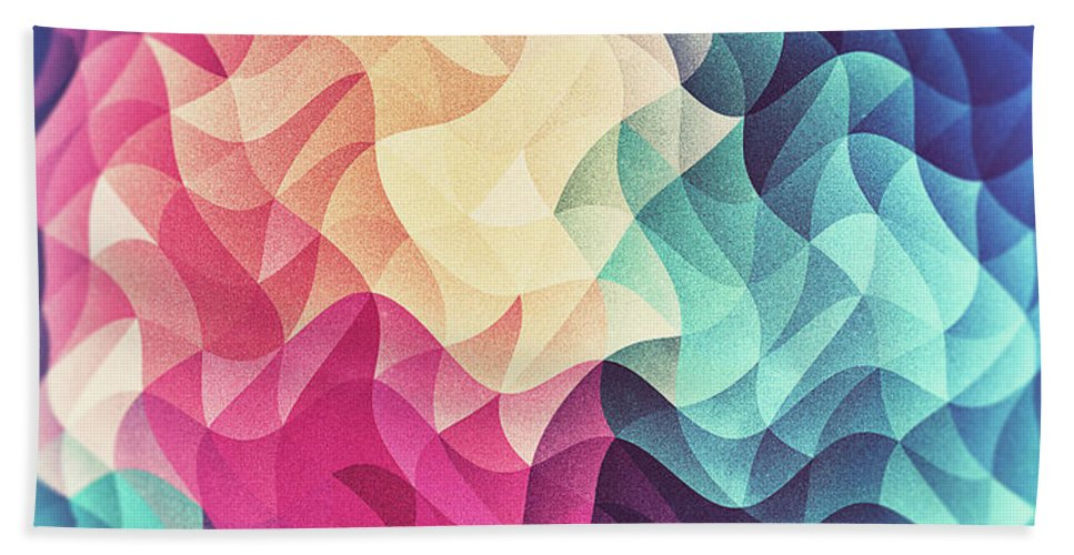 Triangle Beach Towel featuring the digital art Geometry Triangle Wave Multicolor Mosaic Pattern Hdr  Low Poly Art by Philipp Rietz
