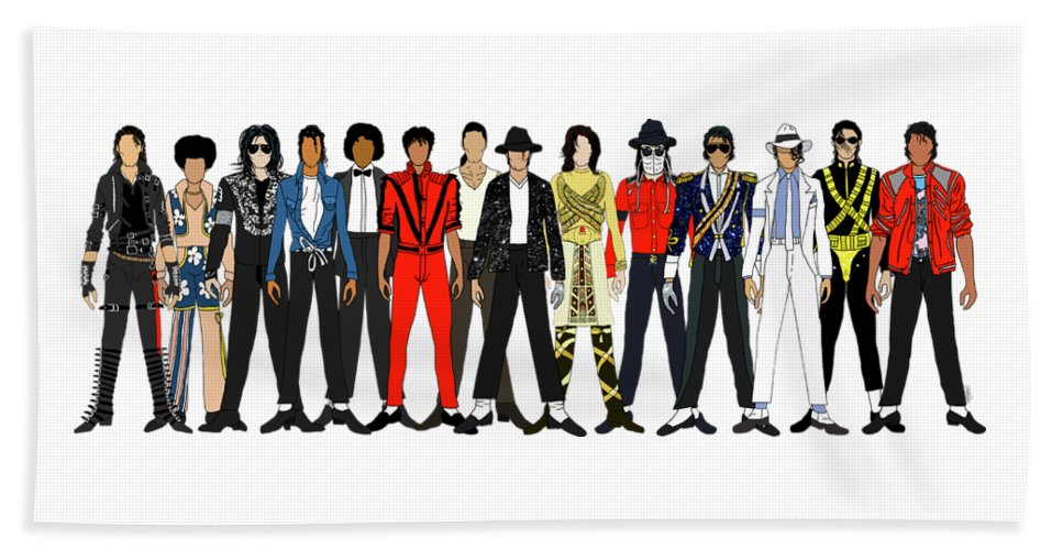 Michael Jackson Beach Towel featuring the digital art Outfits of Michael Jackson by Notsniw Art
