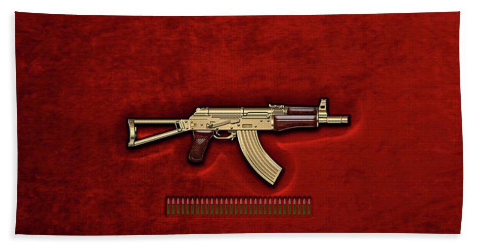'the Armory' Collection By Serge Averbukh Beach Towel featuring the photograph Gold A K S-74 U Assault Rifle with 5.45x39 Rounds over Red Velvet  by Serge Averbukh