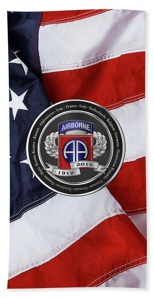 'military Insignia & Heraldry' Collection By Serge Averbukh Beach Towel featuring the digital art 82nd Airborne Division 100th Anniversary Medallion Over American Flag by Serge Averbukh
