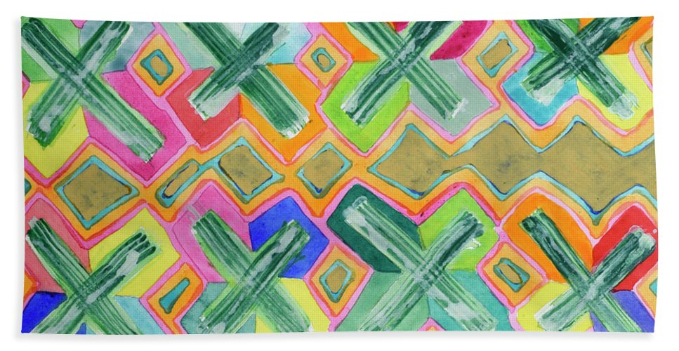 Colorful Beach Towel featuring the painting Colorful X-pattern by Heidi Capitaine