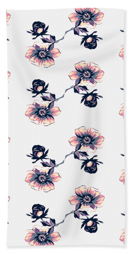 Rose Beach Towel featuring the digital art Branch With Flowers Roses Isolated. Vintage Grunge Background. C by Svetlana Corghencea
