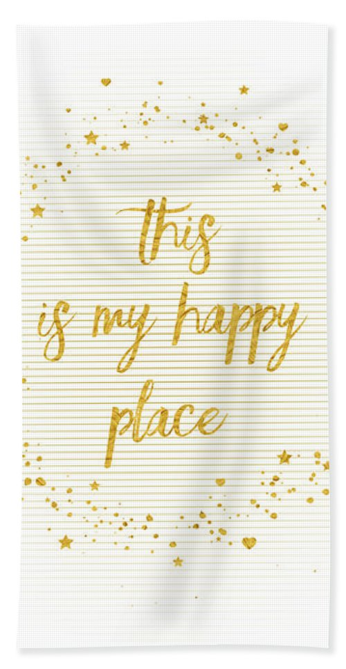 Abstract Beach Towel featuring the digital art Text Art This Is My Happy Place - Hearts, Stars And Splashes by Melanie Viola