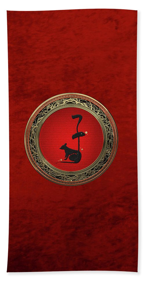 'zodiac' Collection By Serge Averbukh Beach Towel featuring the digital art Chinese Zodiac - Year Of The Rat On Red Velvet by Serge Averbukh