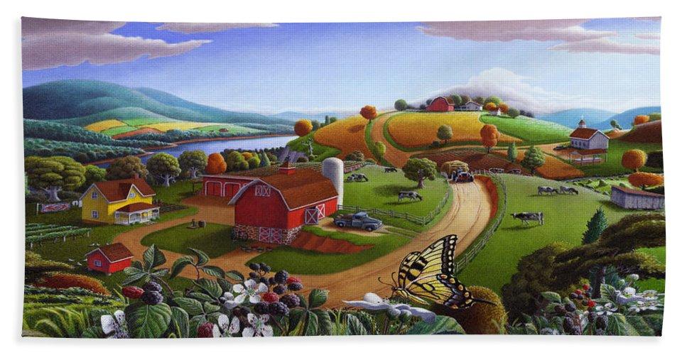 Folk Art Beach Towel featuring the painting Folk Art Blackberry Patch Rural Country Farm Landscape Painting - Blackberries Rustic Americana by Walt Curlee