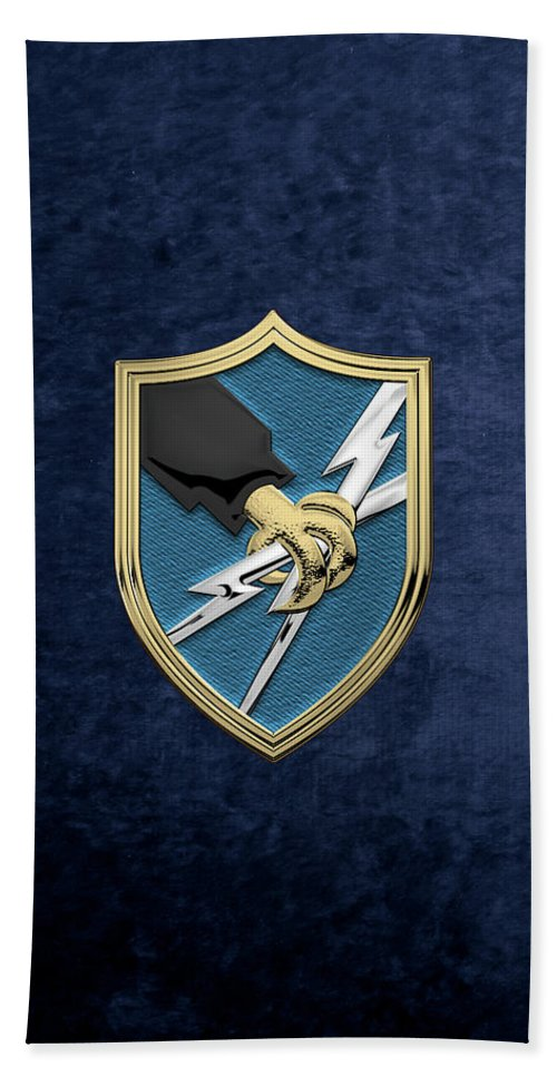 'military Insignia 3d' Collection By Serge Averbukh Beach Towel featuring the digital art U. S. Army Security Agency - A S A Patch Over Blue Velvet by Serge Averbukh