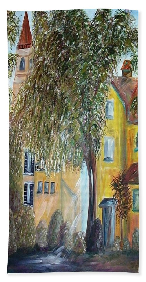 Tuscany Beach Towel featuring the painting Morning In The Old Country by Eloise Schneider Mote