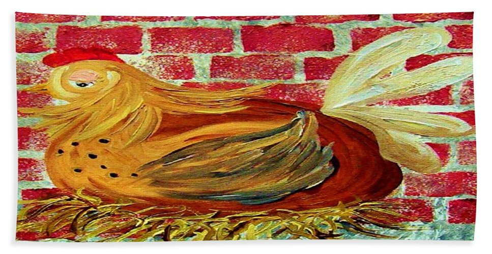 Hen Beach Towel featuring the painting Mother Hen by Eloise Schneider Mote