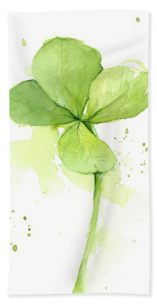 Clover Beach Towel featuring the painting Clover Watercolor by Olga Shvartsur