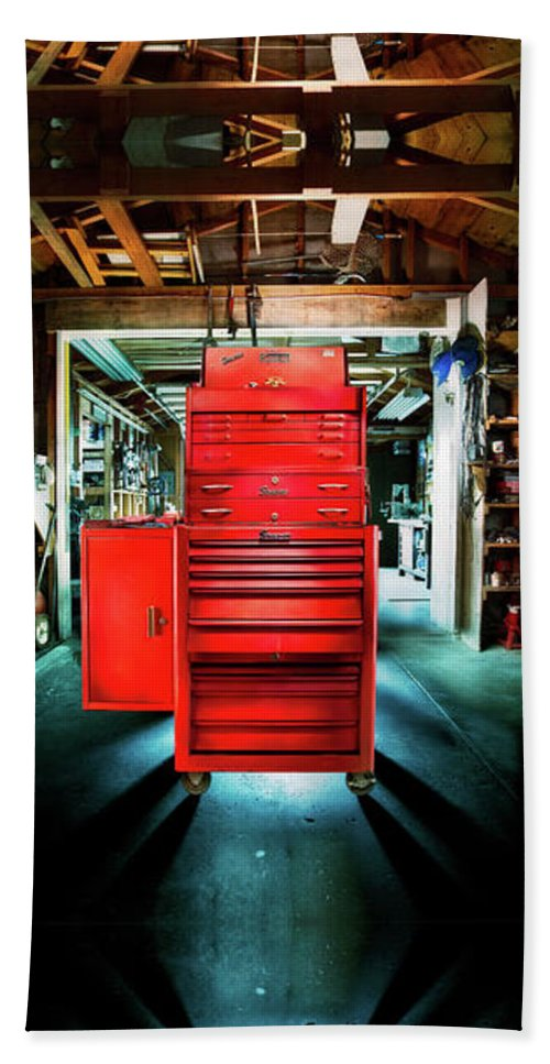 Box Beach Towel featuring the photograph Mechanics Toolbox Cabinet Stack In Garage Shop by YoPedro