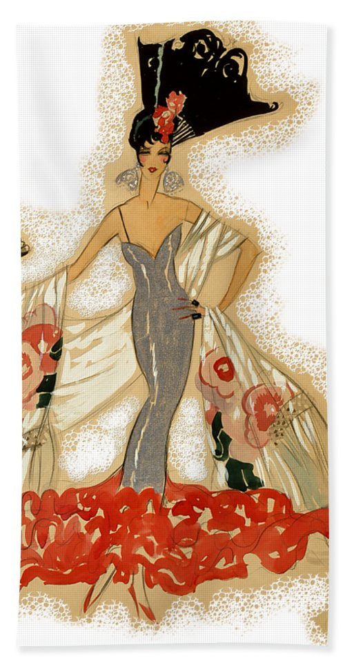 Robert Kernodle Vintage Women Fashions Beach Towel featuring the digital art Elegant Woman by Robert G Kernodle