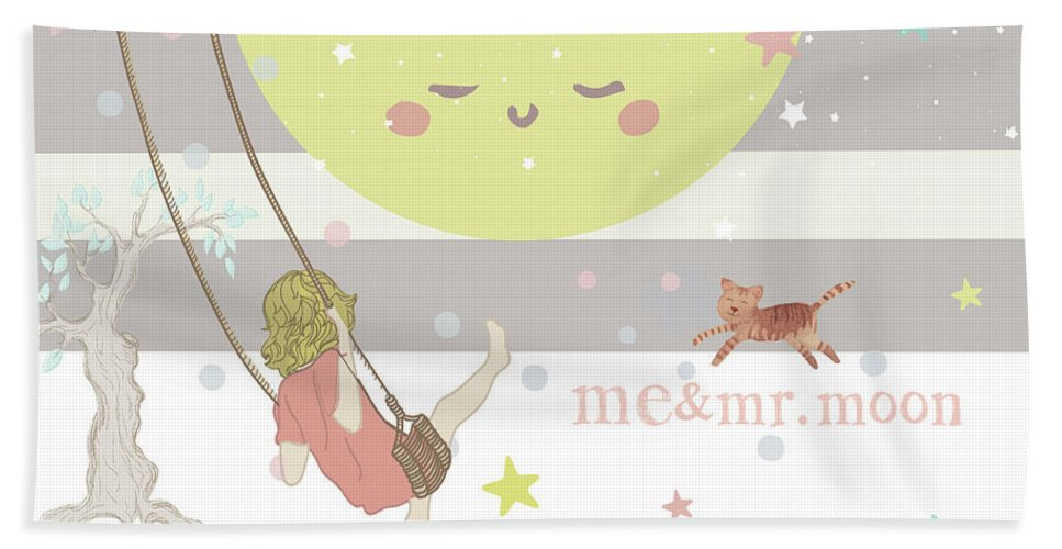 Beach Towel featuring the digital art Me and Mr. Moon by Claire Tingen