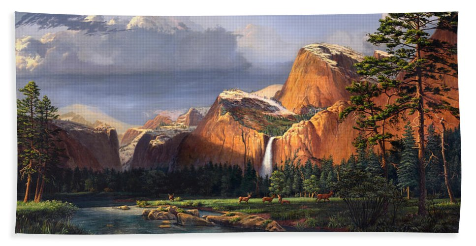 American Beach Towel featuring the painting Deer Meadow Mountains Western stream Deer waterfall Landscape Oil Painting stormy sky snow scene by Walt Curlee