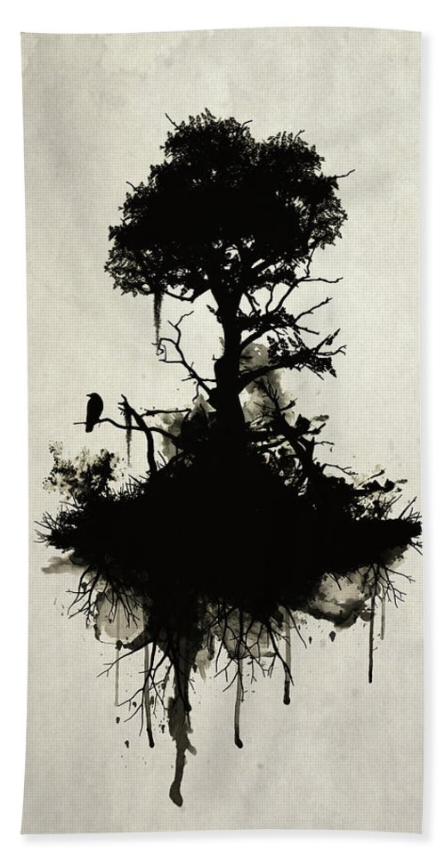 Nature Beach Towel featuring the painting Last Tree Standing by Nicklas Gustafsson