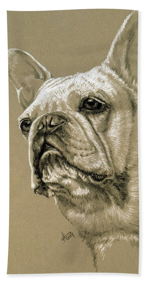 Dog Beach Towel featuring the drawing French Bulldog by Barbara Keith