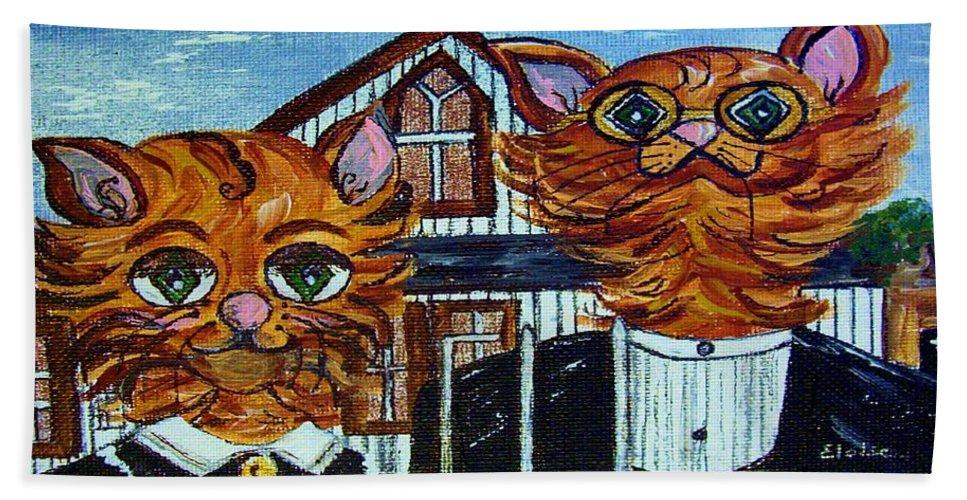 American Beach Towel featuring the painting American Gothic Cats - A Parody by Eloise Schneider Mote