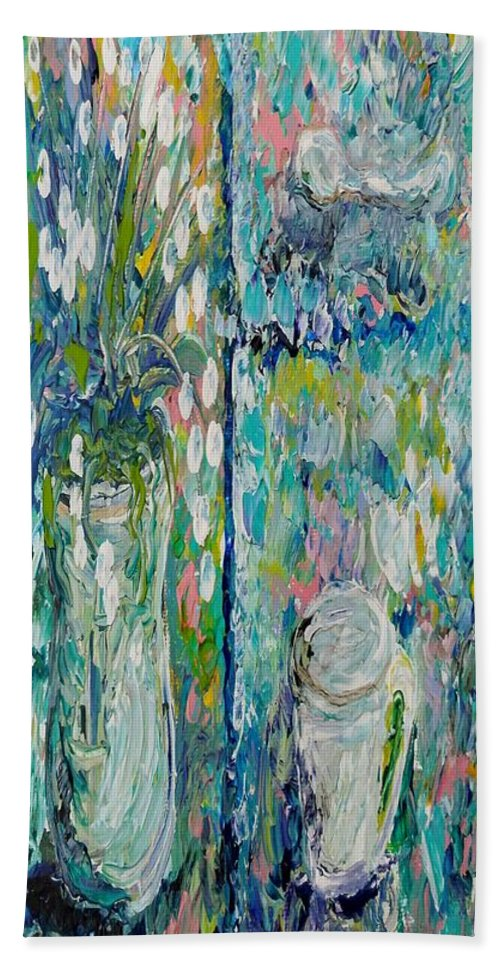Renoir Beach Towel featuring the painting Vase And Demitasse by Eloise Schneider Mote