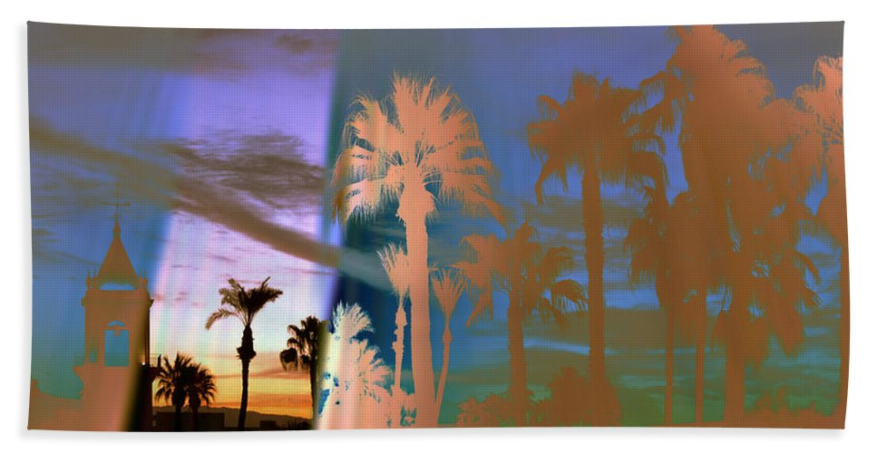 Fog. Palm Trees Beach Towel featuring the photograph As The Fog Lifts by Irma BACKELANT GALLERIES