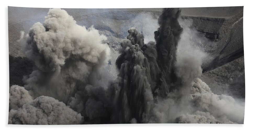 Geoscience Beach Towel featuring the photograph Ash Cloud Eruption On Yasur Volcano by Richard Roscoe