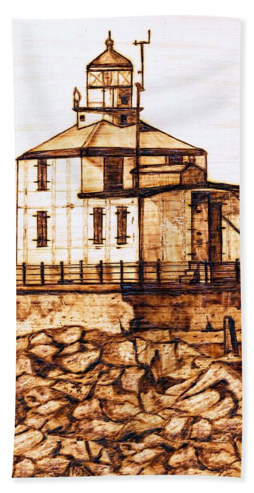 Lighthouse Beach Towel featuring the pyrography Ashtabula Harbor by Danette Smith