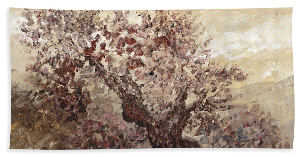 Landscape Beach Sheet featuring the painting Asian Mist by Nadine Rippelmeyer