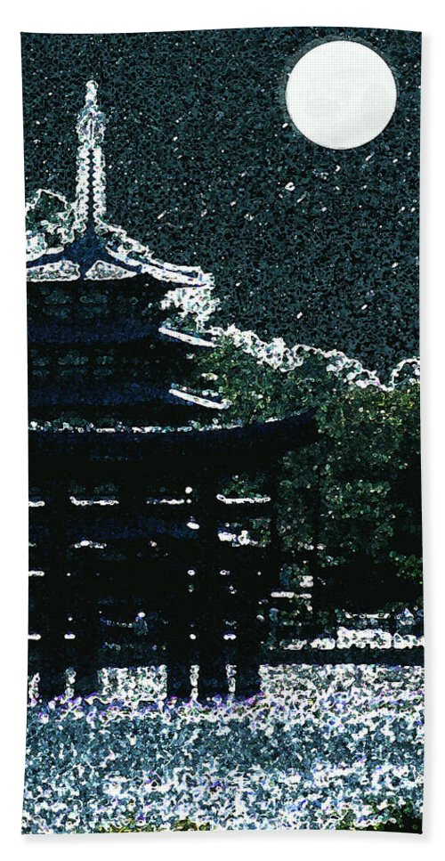 Full Moon Beach Towel featuring the mixed media Asian Moon by Shirley Heyn