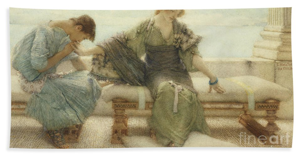 Ask Beach Towel featuring the painting Ask Me No More....for At A Touch I Yield by Sir Lawrence Alma-Tadema