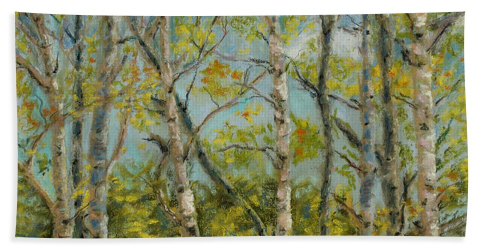 Aspens Beach Towel featuring the pastel Aspen Glow by Mary Benke