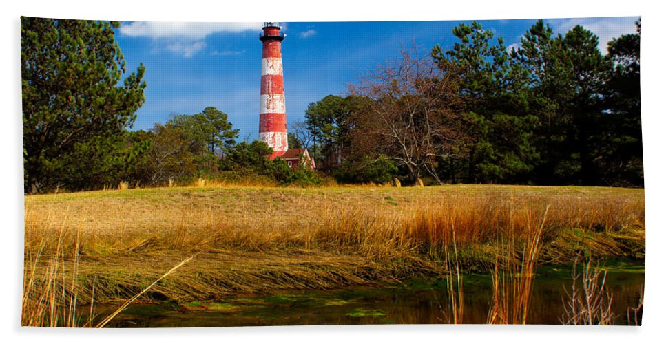 American Beach Towel featuring the photograph Assateague Lighthouse Reflection by Nick Zelinsky