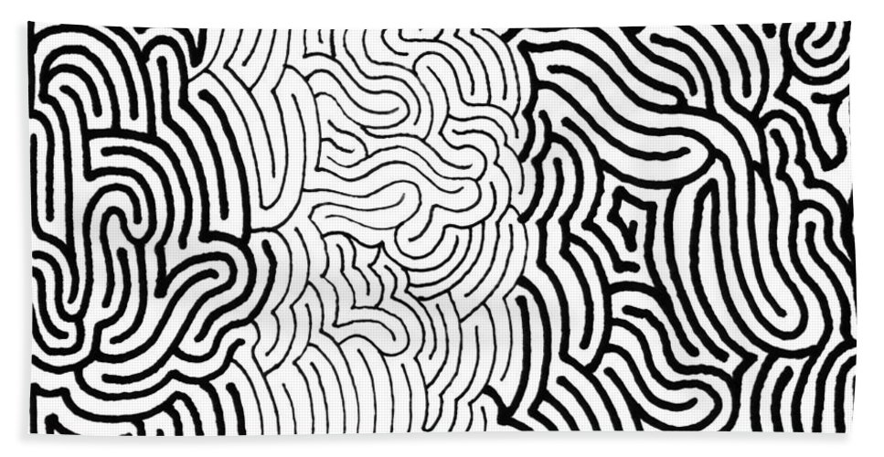Mazes Beach Towel featuring the drawing Assimilation by Steven Natanson