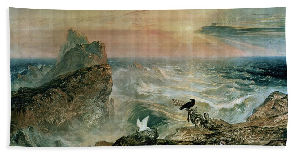 Assuaging Of The Waters By John Martin (1789-1854) Beach Towel featuring the painting Assuaging Of The Waters by John Martin