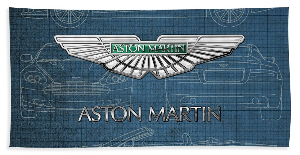 Wheels Of Fortune By Serge Averbukh Beach Towel featuring the photograph Aston Martin 3 D Badge over Aston Martin D B 9 Blueprint by Serge Averbukh