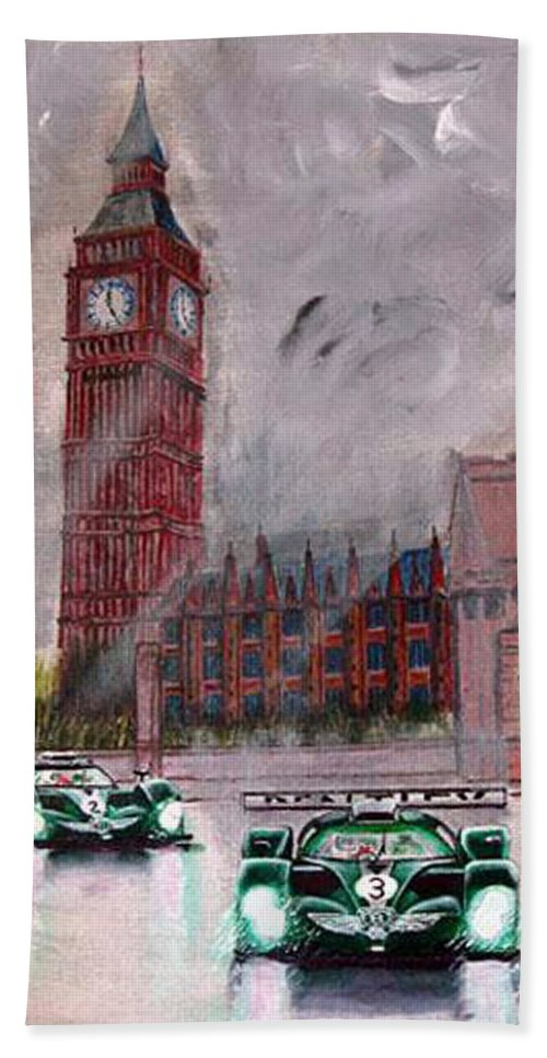 Aston Martin Beach Towel featuring the painting Aston Martin Racing In London by Richard Le Page