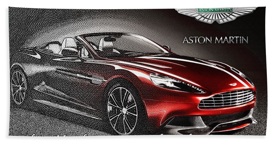 �wheels Of Fortune� Collection By Serge Averbukh Beach Towel featuring the photograph Aston Martin Vanquish Volante by Serge Averbukh