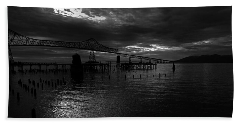 Landscape Beach Towel featuring the photograph Astoria-megler Bridge 4 by Lee Santa