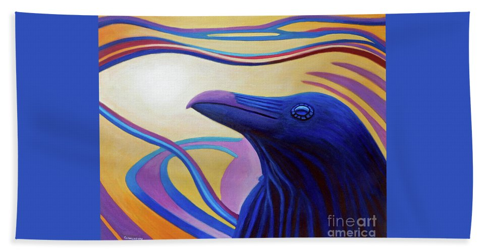Raven Beach Towel featuring the painting Astral Raven by Brian Commerford