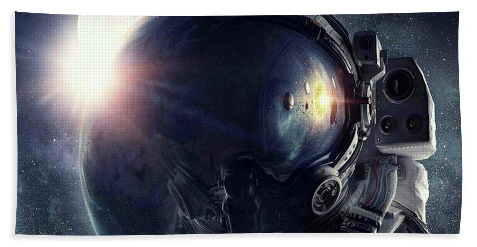 Astronaut Helmet Earth Manipulation Space Galaxy Beach Towel