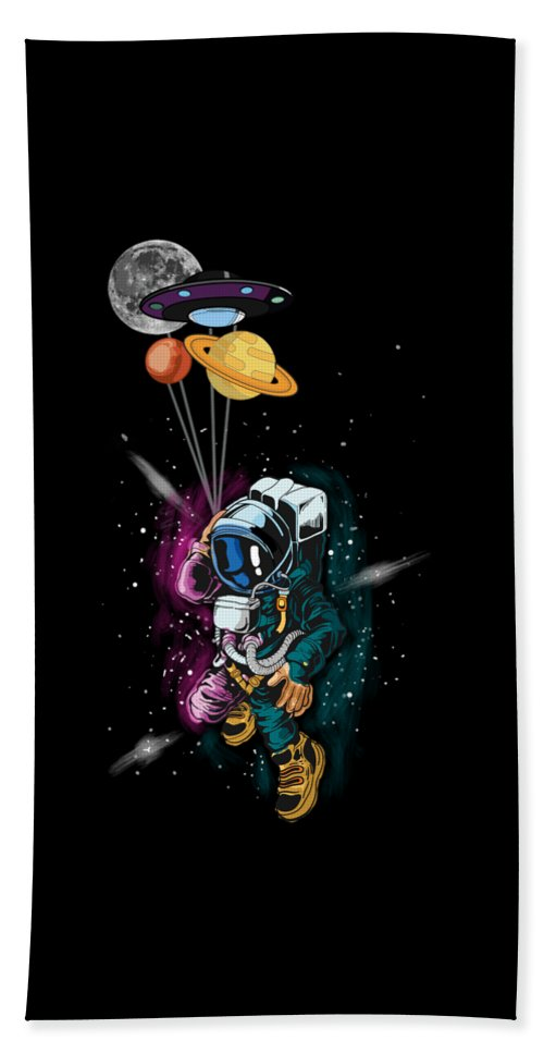 Galaxy Beach Sheet featuring the digital art Astronaut Ufo Balloon Outer Space Shuttle by Thomas Larch
