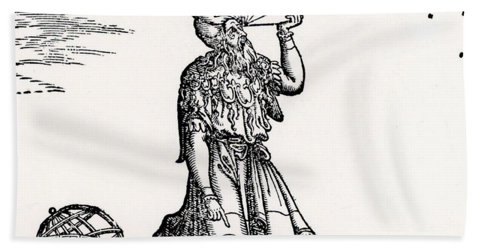 Astronomer Beach Towel featuring the drawing Astronomer, Probably Ptolemy Of Alexandria by Venetian School