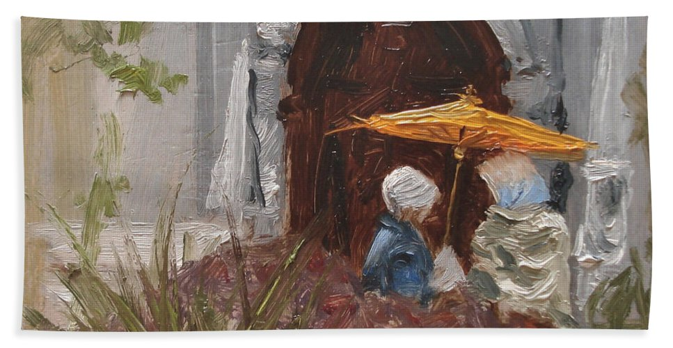 Parks Beach Towel featuring the painting At Balboa Park by Barbara Andolsek