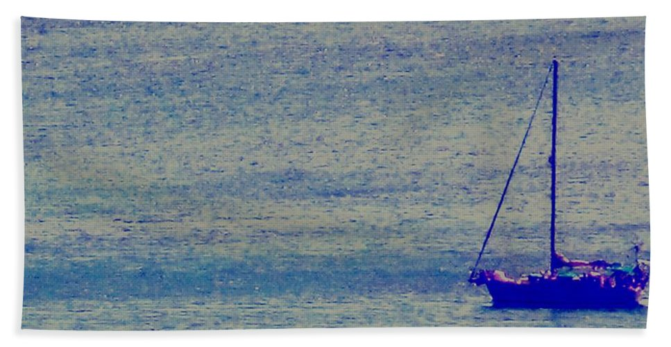 Boat Beach Towel featuring the photograph At Evening Anchor by Ian MacDonald