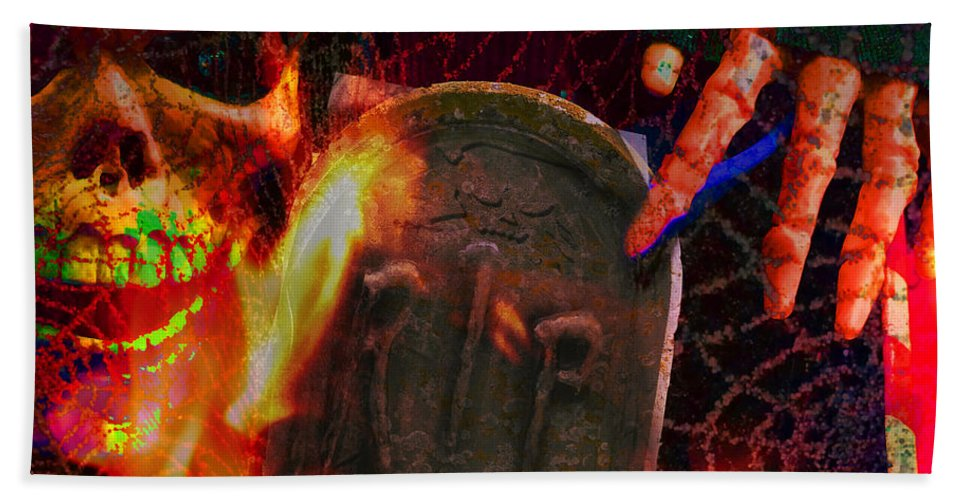 Manipulated Beach Towel featuring the photograph At Night In The Graveyard by LemonArt Photography