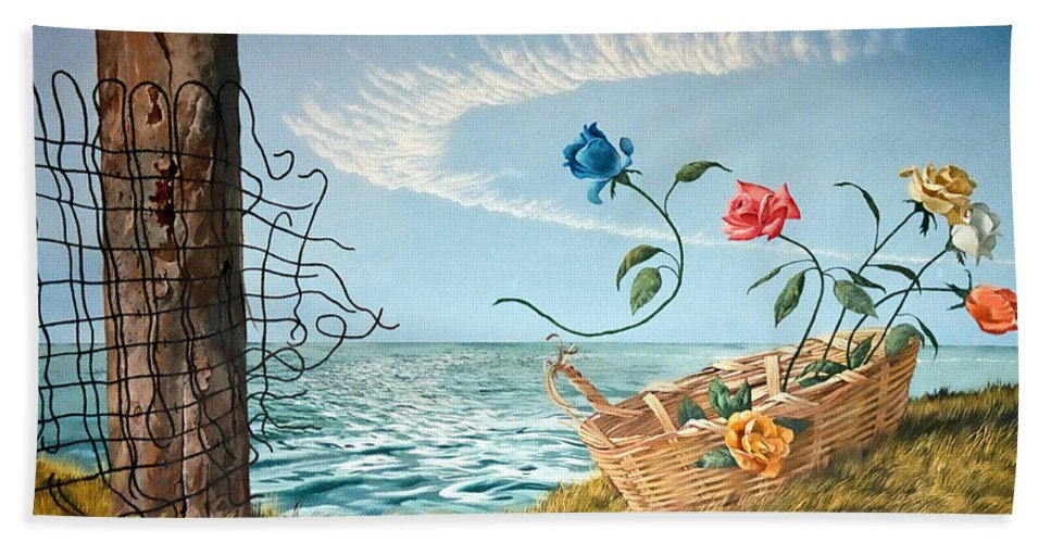 Flower Beach Towel featuring the painting At The End Of The Fence I Am Free by Christopher Shellhammer