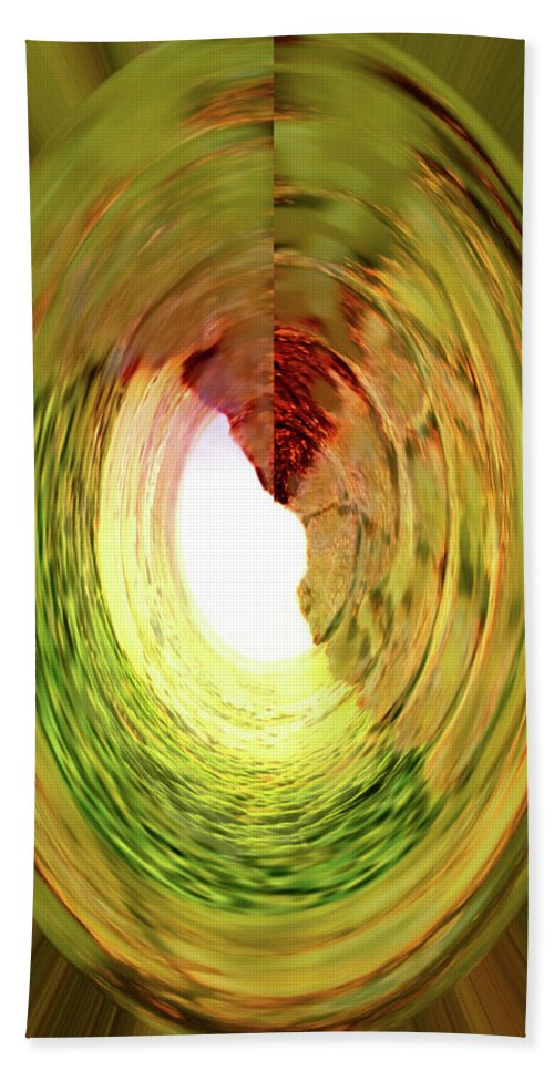 Abstract Beach Towel featuring the digital art At The End Of The Tunnel by Ian MacDonald
