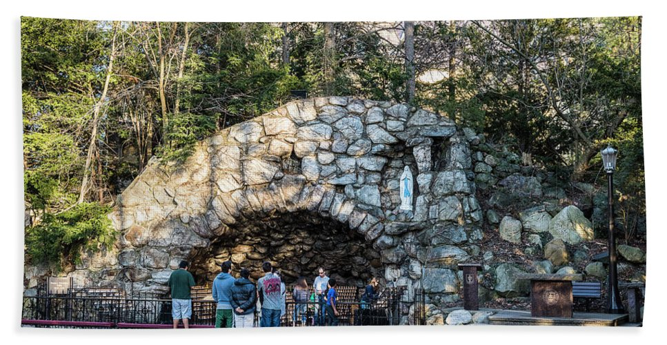Religion Beach Towel featuring the photograph At The Grotto by Douglas Neumann