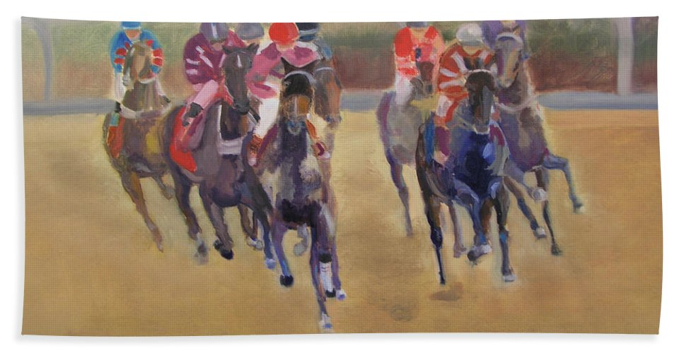 Horses Beach Towel featuring the painting At The Races by Gail Eisenfeld